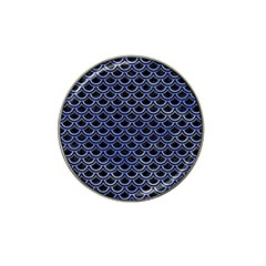 Scales2 Black Marble & Blue Watercolor Hat Clip Ball Marker (10 Pack) by trendistuff