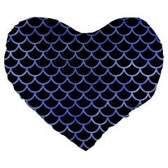 Scales1 Black Marble & Blue Watercolor Large 19  Premium Flano Heart Shape Cushion by trendistuff