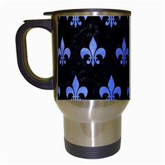 Royal1 Black Marble & Blue Watercolor (r) Travel Mug (white) by trendistuff
