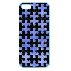 Puzzle1 Black Marble & Blue Watercolor Apple Seamless Iphone 5 Case (color) by trendistuff