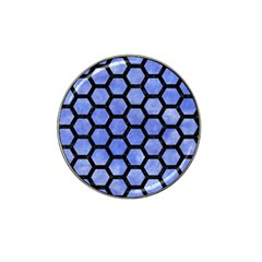 Hexagon2 Black Marble & Blue Watercolor (r) Hat Clip Ball Marker by trendistuff