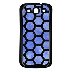 Hexagon2 Black Marble & Blue Watercolor (r) Samsung Galaxy S3 Back Case (black) by trendistuff