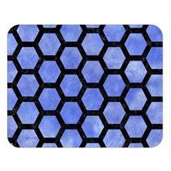 Hexagon2 Black Marble & Blue Watercolor (r) Double Sided Flano Blanket (large) by trendistuff