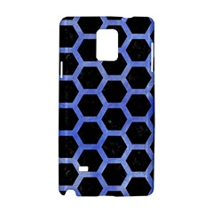 Hexagon2 Black Marble & Blue Watercolor Samsung Galaxy Note 4 Hardshell Case by trendistuff