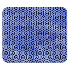 Hexagon1 Black Marble & Blue Watercolor (r) Double Sided Flano Blanket (small) by trendistuff