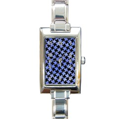 Houndstooth2 Black Marble & Blue Watercolor Rectangle Italian Charm Watch by trendistuff