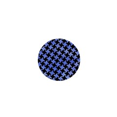 Houndstooth2 Black Marble & Blue Watercolor 1  Mini Button by trendistuff