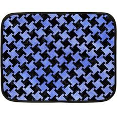 Houndstooth2 Black Marble & Blue Watercolor Fleece Blanket (mini) by trendistuff