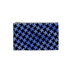 Houndstooth2 Black Marble & Blue Watercolor Cosmetic Bag (small) by trendistuff