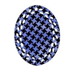Houndstooth2 Black Marble & Blue Watercolor Oval Filigree Ornament (two Sides) by trendistuff