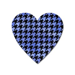 Houndstooth1 Black Marble & Blue Watercolor Magnet (heart) by trendistuff