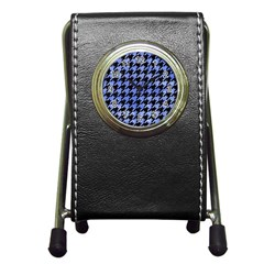 Houndstooth1 Black Marble & Blue Watercolor Pen Holder Desk Clock by trendistuff