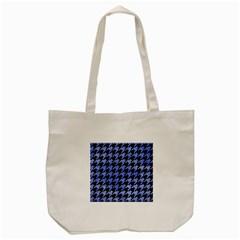 Houndstooth1 Black Marble & Blue Watercolor Tote Bag (cream) by trendistuff