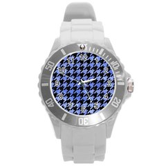 Houndstooth1 Black Marble & Blue Watercolor Round Plastic Sport Watch (l) by trendistuff