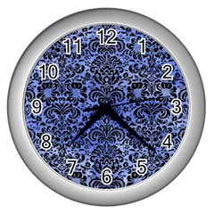 Damask2 Black Marble & Blue Watercolor (r) Wall Clock (silver) by trendistuff
