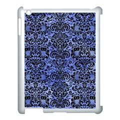 Damask2 Black Marble & Blue Watercolor (r) Apple Ipad 3/4 Case (white) by trendistuff