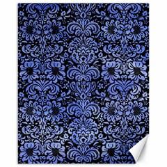 Damask2 Black Marble & Blue Watercolor Canvas 16  X 20  by trendistuff