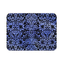 Damask2 Black Marble & Blue Watercolor Double Sided Flano Blanket (mini) by trendistuff