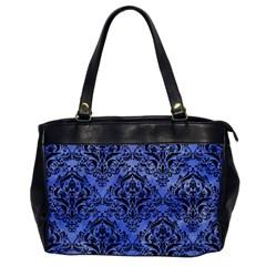 Damask1 Black Marble & Blue Watercolor (r) Oversize Office Handbag by trendistuff