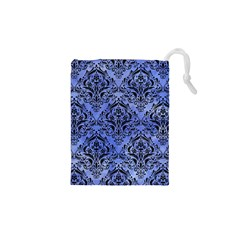 Damask1 Black Marble & Blue Watercolor (r) Drawstring Pouch (xs) by trendistuff