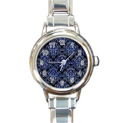 Damask1 Black Marble & Blue Watercolor Round Italian Charm Watch by trendistuff