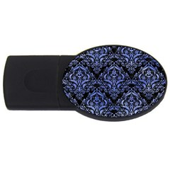 Damask1 Black Marble & Blue Watercolor Usb Flash Drive Oval (4 Gb) by trendistuff
