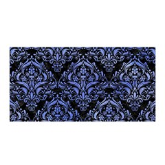 Damask1 Black Marble & Blue Watercolor Satin Wrap by trendistuff