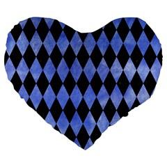 Diamond1 Black Marble & Blue Watercolor Large 19  Premium Flano Heart Shape Cushion by trendistuff