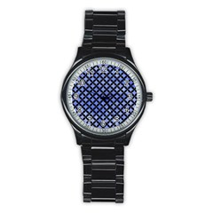 Circles3 Black Marble & Blue Watercolor (r) Stainless Steel Round Watch by trendistuff