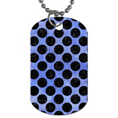 Circles2 Black Marble & Blue Watercolor (r) Dog Tag (one Side) by trendistuff