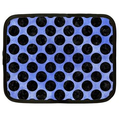 Circles2 Black Marble & Blue Watercolor (r) Netbook Case (large) by trendistuff