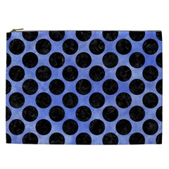 Circles2 Black Marble & Blue Watercolor (r) Cosmetic Bag (xxl) by trendistuff