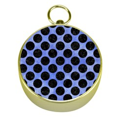 Circles2 Black Marble & Blue Watercolor (r) Gold Compass by trendistuff