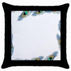 Beautiful Frame Made Up Of Blue Peacock Feathers Throw Pillow Case (black) by Nexatart