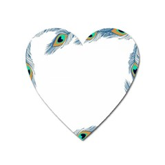 Beautiful Frame Made Up Of Blue Peacock Feathers Heart Magnet by Nexatart