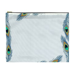 Beautiful Frame Made Up Of Blue Peacock Feathers Cosmetic Bag (xl) by Nexatart