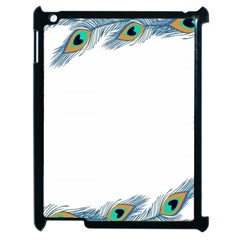 Beautiful Frame Made Up Of Blue Peacock Feathers Apple Ipad 2 Case (black) by Nexatart