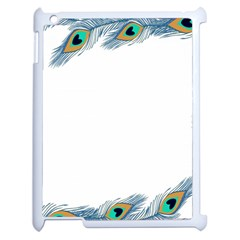 Beautiful Frame Made Up Of Blue Peacock Feathers Apple Ipad 2 Case (white) by Nexatart
