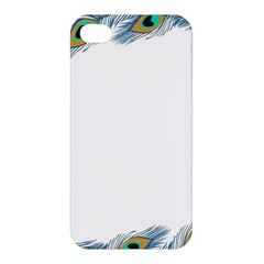 Beautiful Frame Made Up Of Blue Peacock Feathers Apple Iphone 4/4s Premium Hardshell Case by Nexatart