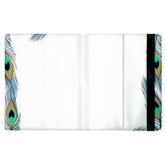 Beautiful Frame Made Up Of Blue Peacock Feathers Apple Ipad 3/4 Flip Case by Nexatart