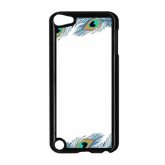 Beautiful Frame Made Up Of Blue Peacock Feathers Apple Ipod Touch 5 Case (black) by Nexatart