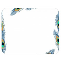 Beautiful Frame Made Up Of Blue Peacock Feathers Double Sided Flano Blanket (medium)  by Nexatart