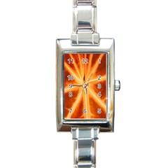 Red Leaf Macro Detail Rectangle Italian Charm Watch by Nexatart