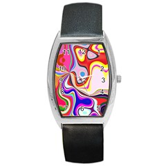 Colourful Abstract Background Design Barrel Style Metal Watch by Nexatart