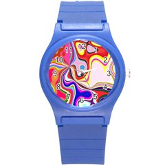 Colourful Abstract Background Design Round Plastic Sport Watch (s) by Nexatart