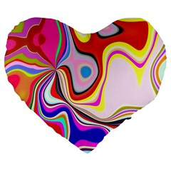Colourful Abstract Background Design Large 19  Premium Flano Heart Shape Cushions by Nexatart