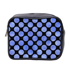 Circles2 Black Marble & Blue Watercolor Mini Toiletries Bag (two Sides) by trendistuff