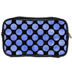 Circles2 Black Marble & Blue Watercolor Toiletries Bag (one Side) by trendistuff