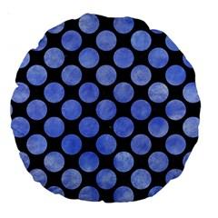 Circles2 Black Marble & Blue Watercolor Large 18  Premium Round Cushion  by trendistuff