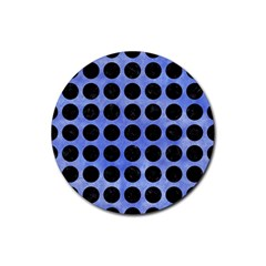 Circles1 Black Marble & Blue Watercolor (r) Rubber Coaster (round) by trendistuff